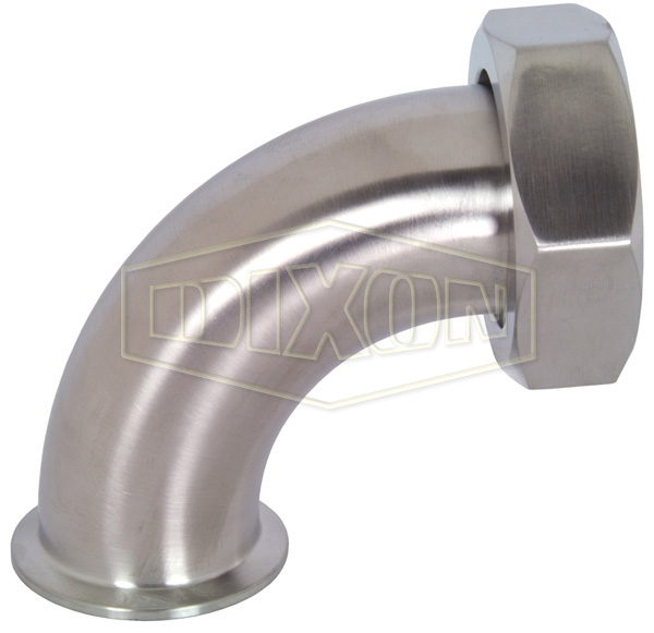 90° Clamp x Plain Bevel Seat with Hex Nut Elbow