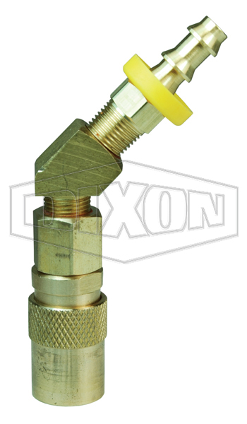 DQC CM-Series Industrial Mold Interchange Valved Coupler 45° Push-Loc Barb
