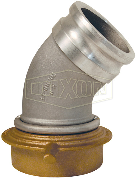 Cam & Groove 45° Adapter x Swivel Railroad Tank Car Connection Elbow