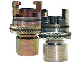 Dual-Lock™ P-Series Thor Interchange Female Thread Coupler with Knurled Flanged Sleeve