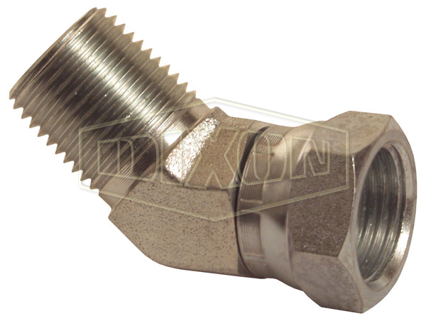 45° Male NPTF x Female NPSM Swivel Nut Elbow