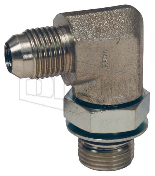 British Thread Adapter JIC Male 37° Flare x Male BSPP 90° Elbow