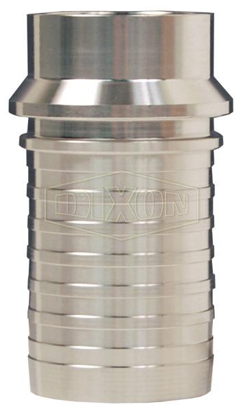 Dixon® Sanitary Style Crimp Stem Tube Weld End x Hose Shank