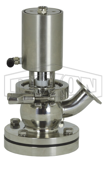 SV-Series Single Seat Hygienic Valve Tank Body Up to Close Pneumatic Actuator Spring Return Air to Raise