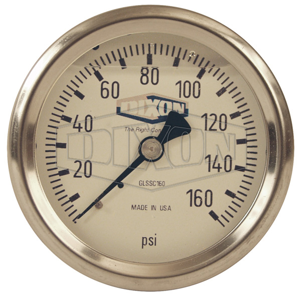 Stainless Liquid Filled Gauge Center Back Mount