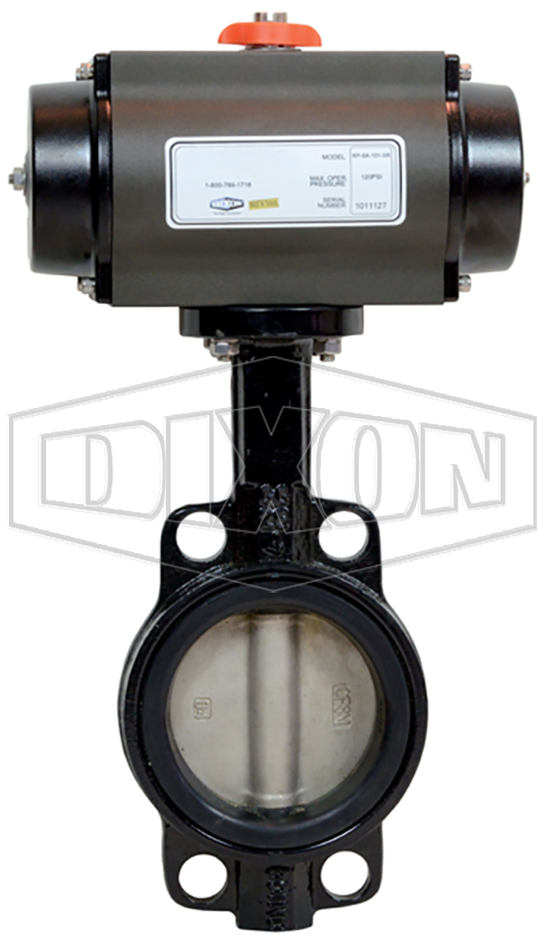 Pneumatically actuated wafer butterfly valve